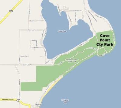 Cave Point Map, Door COunty
